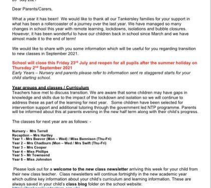 Letter to parents: 22 July 2021 : September arrangements
